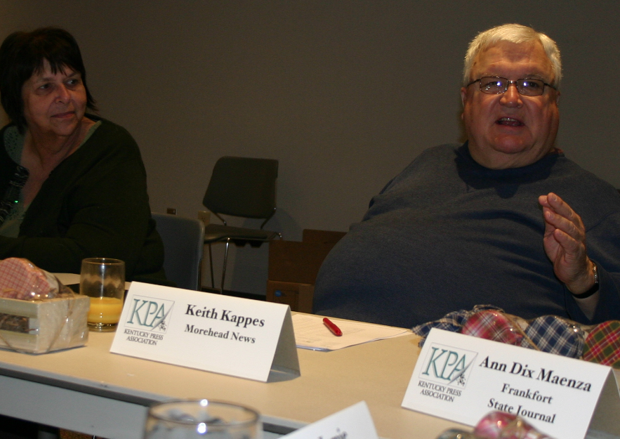 Morehead News publisher Keith Kappes gestures a point during the KPA/KPS Board Retreat discussions. At left is Cathie Shaffer, with the Greenup County Times News