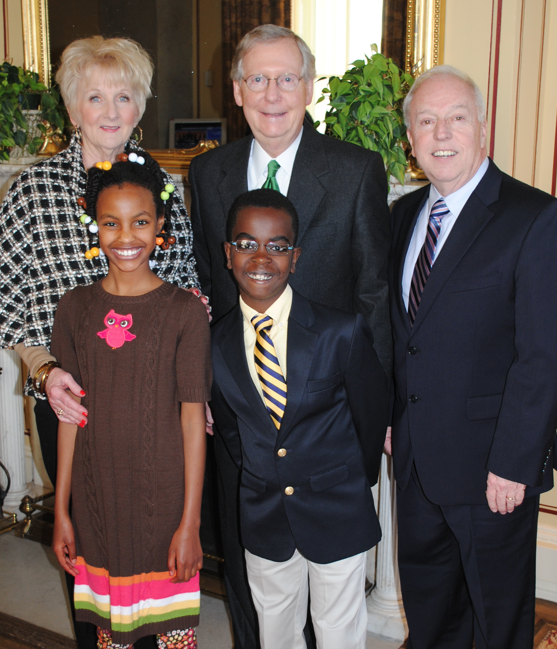 Last March, Senator McConnell met with Chip and Karen Hutcheson and their grandchildren in his office in the U.S. Capitol. Several years ago, Senator McConnell's office assisted the Hutcheson family with the adoption of Lemlem and Kashiku from Ethiopia.